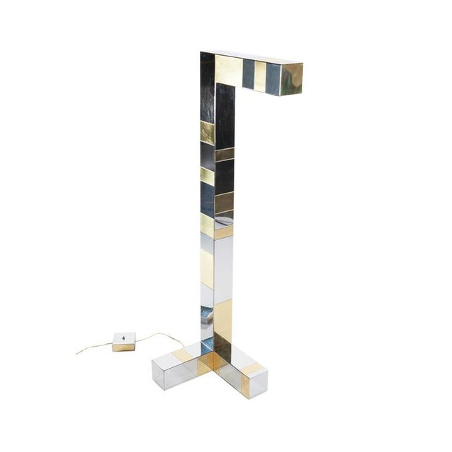 "Modern 1970's vintage PAUL EVANS BRASS AND CHROME ""CITYSCAPE"" FLOOR LAMP For Sale - Image 3 of 10"