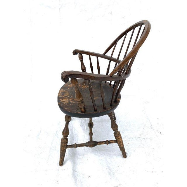 Farmhouse Vintage Nichols and Stone Rockport Windsor Rustic Farm House Style Chair For Sale - Image 3 of 8