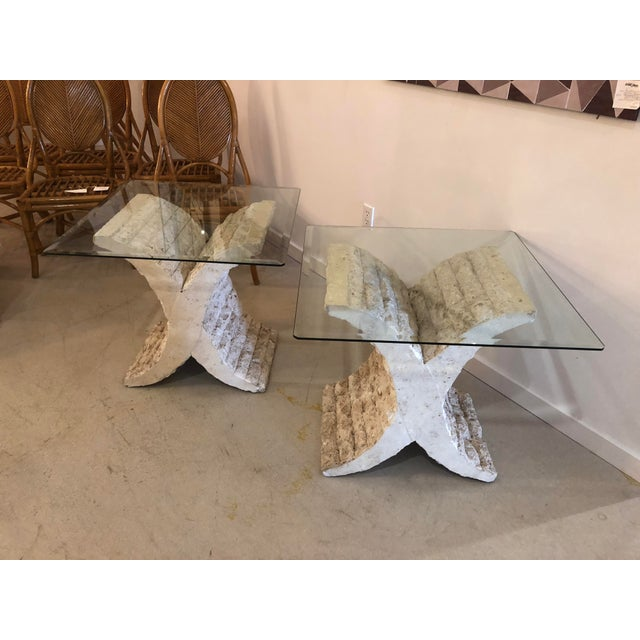 Coquina & stone glass top side tables. c