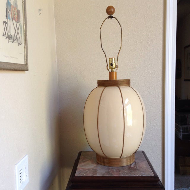 Mid-Century Bamboo Wrapped Porcelain Lamp - Image 2 of 5