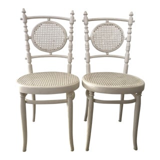 Antique 1913 Fischel Bentwood French Bistro Chairs - a Pair