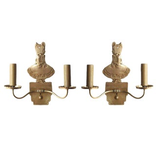 Bronze Electric Candelabra Wall Sconce with Girl in Bonnet, Pair For Sale