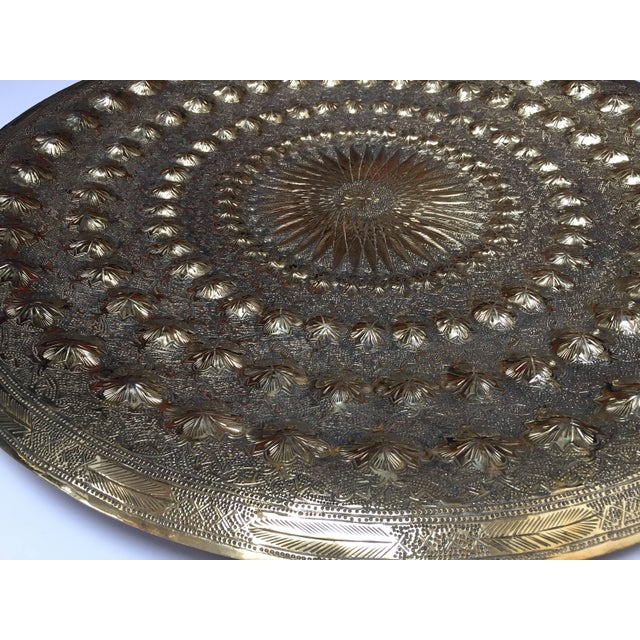 Indo Persian Brass Metal Tray Table For Sale - Image 9 of 13