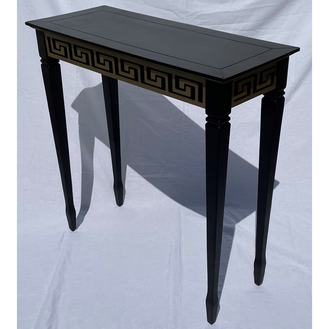 Vintage Black and Gold Narrow Side Table For Sale - Image 9 of 12
