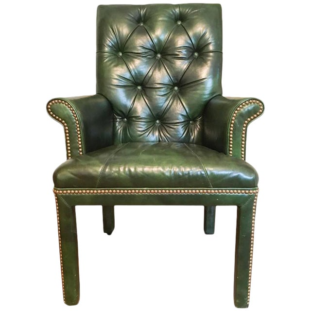 Emerald Green Moore & Giles Leather Tufted Armchair For Sale