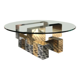 1970s Modern Paul Evans Cityscape Round Glass Top Coffee Table For Sale