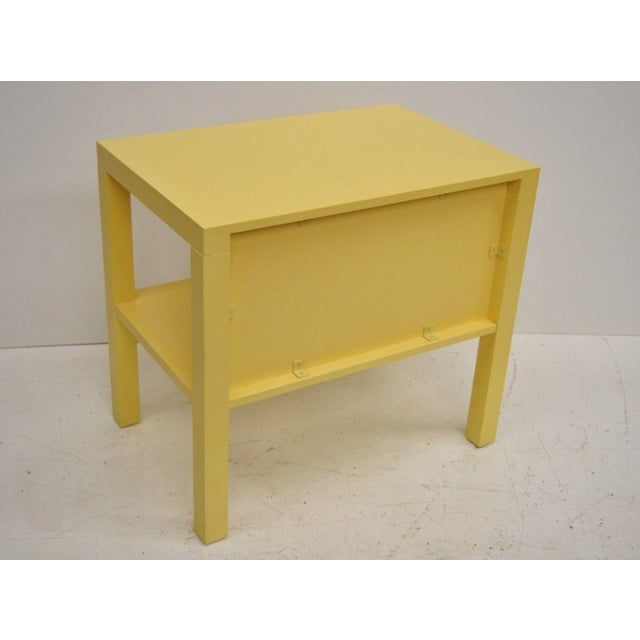 Yellow Modern Decca Yellow Grasscloth Raffia Wrapped End Tables - a Pair For Sale - Image 8 of 10