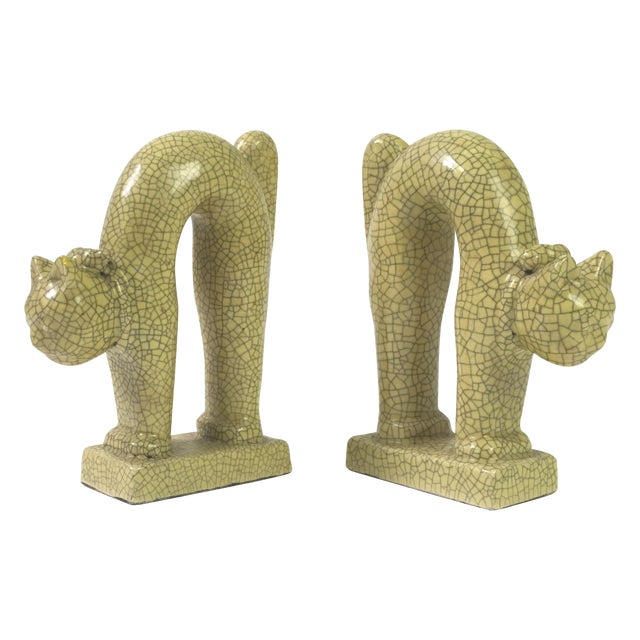 1940's Art Deco Ceramic Cat Bookends - A Pair For Sale