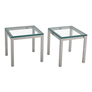 1970s Mid-Century Modern Chrome Side Tables - a Pair For Sale