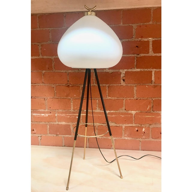 Tripod floor lamp with unique milk glass shape, Italy, 1960s.