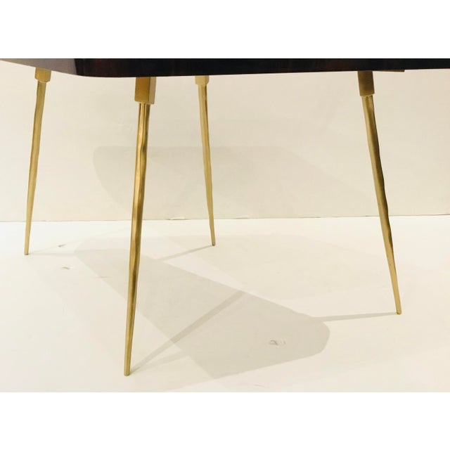 Modern Caracole Signature Modern Macassar Ebony Lacquer and Textured Brass the Trilogy Side Table For Sale - Image 3 of 4