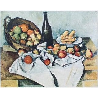 Vintage After Still Life With Basket of Apples Lithograph by Cezanne For Sale