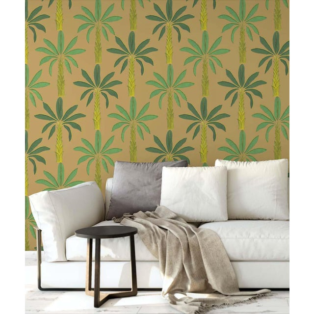 Contemporary Tropical Wallpaper in Gamboge Yellow, 6 Rolls For Sale - Image 3 of 4