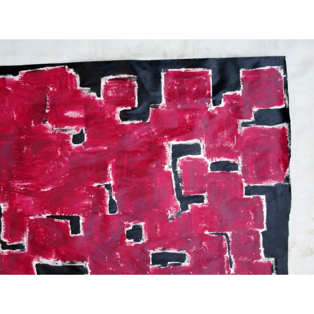 Alaina Bold Abstract Red Black Painting - Image 9 of 11