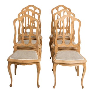 Antique French Country Oak Dining Chairs With Linen Seat For Sale