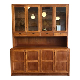 1970s Vintage Teak Wood Two-Piece Display Hutch For Sale