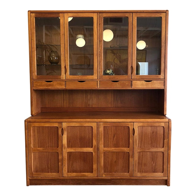 1970s Vintage Teak Wood Two-Piece Display Hutch For Sale