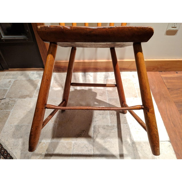 Wood American Primitive Maple Thumb Back Chair For Sale - Image 7 of 8