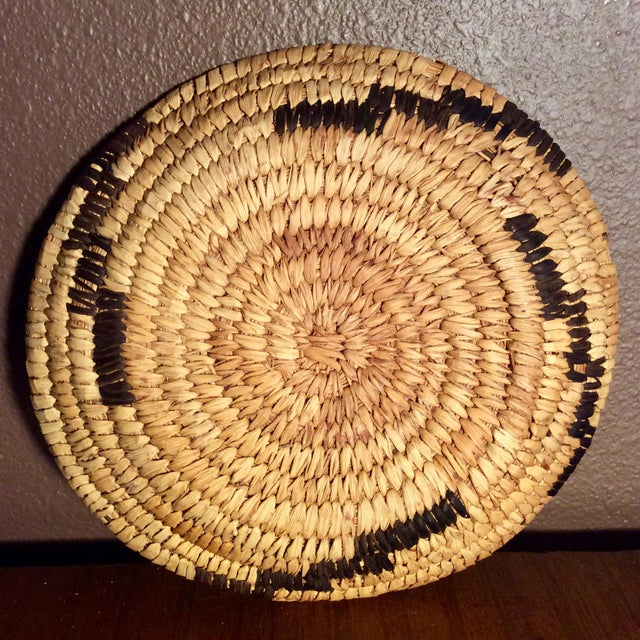 Mid Century Papago Native American Coil Basket. Well executed Geometric pattern on a highly decorative piece of American...