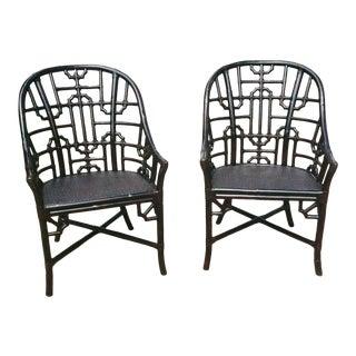 Fretwork Chinoiserie Rattan Arm Chairs- a Pair For Sale