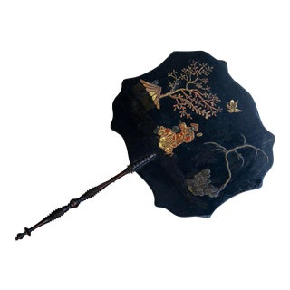 Antique Japanese Black Papier Mache Chinoiserie Fan