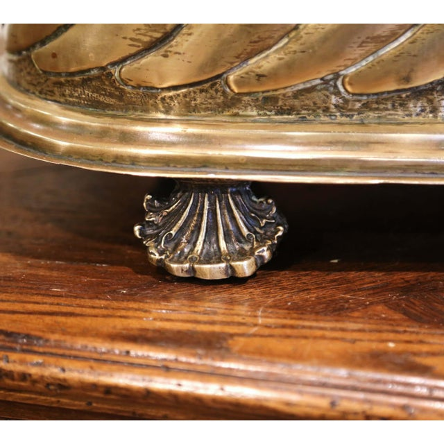 19th Century French Brass Cache-Pot With Lion Head Handles and Repousse Decor For Sale - Image 9 of 12