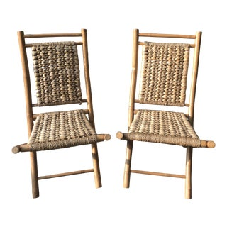Vintage Mid Century Style Pair Woven Bamboo Chairs - a Pair For Sale
