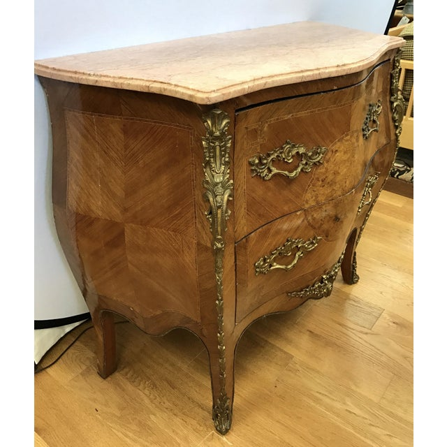 French French Louis XV Marquetry Commode For Sale - Image 3 of 8