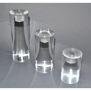 Mid-Century Modern Lucite Round Candle Holders, Set of 3 Preview