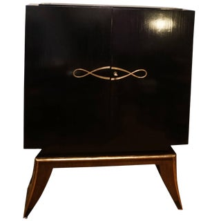 20th Century French Art Deco Ebony Wood Two Door Dry Bar Cabinet For Sale