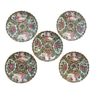 19th Century Enamel Rose Medallion Scalloped Plates - Set of 5 For Sale