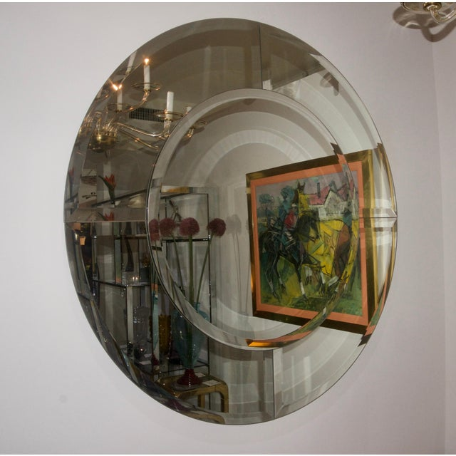 Glass Round Mirror With Beveled Edges, Art Deco Revival For Sale - Image 7 of 8
