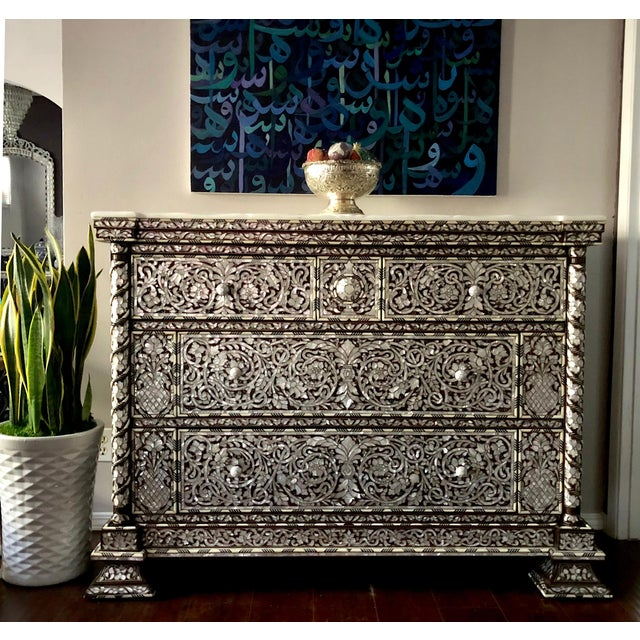 Fabulous Syrian artwork, handcrafted commode with four drawers, inlay with mother-of-pearl, shell and silver metallic...