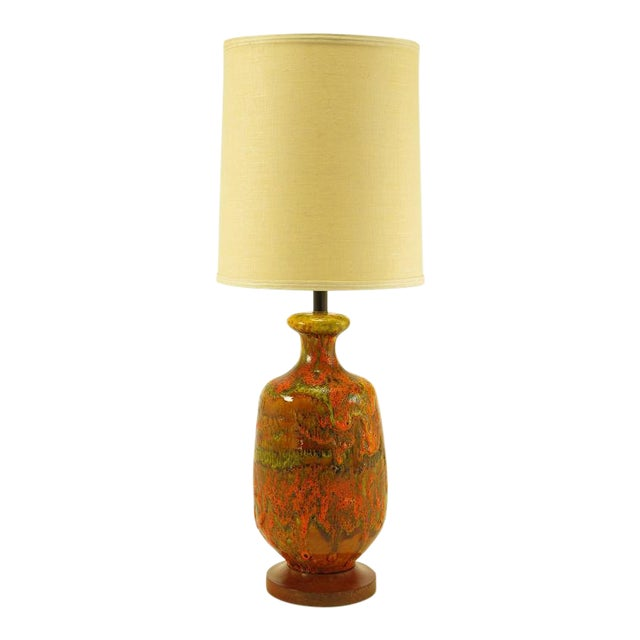 Lava Red Drip Glaze Hand Thrown Ceramic Body Table Lamp For Sale