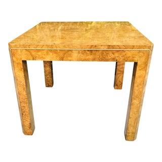 Vintage Milo Baughman Style Mid-Century Modern Burl Wood Parsons Table For Sale