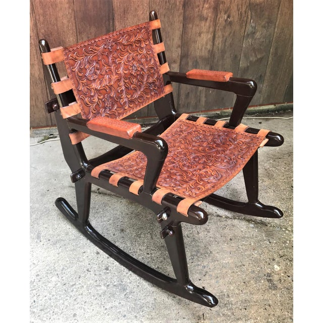 Mid Century Angel Pazmino Sculptural Rosewood Rocking Chair For Sale - Image 10 of 10