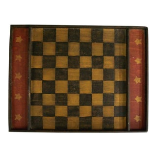 Vintage Rustic Wooden Checkerboard For Sale