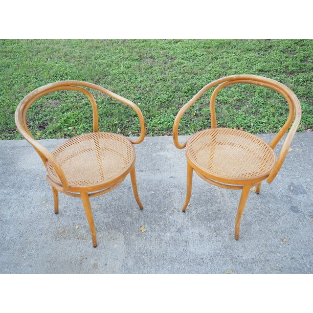 Thonet No.B9 Bentwood Armchairs - A Pair | Chairish