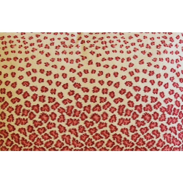 "Colefax & Fowler Leopard Print & Chenille Feather/Down Pillows 22"" X 16"" - Pair For Sale - Image 4 of 13"