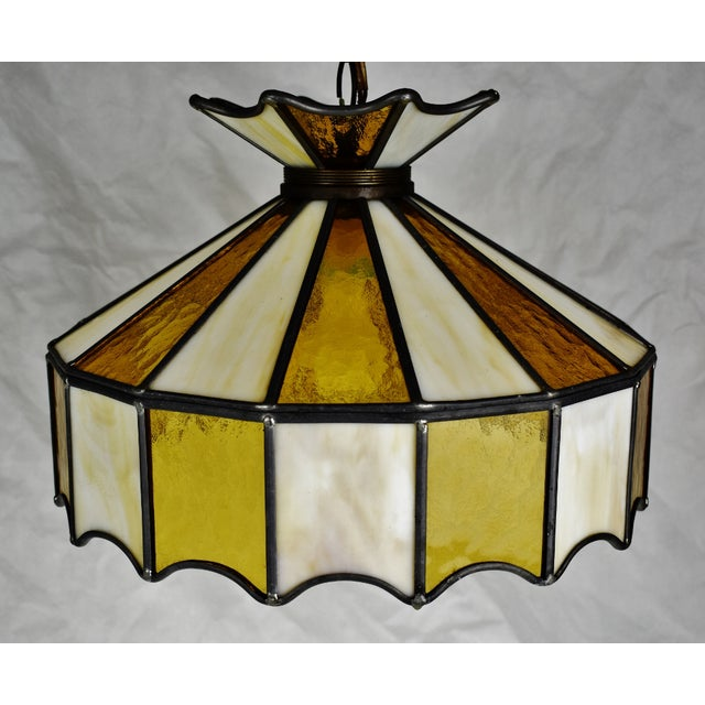 Vintage Tiffany Style Leaded Glass Pendant Light Chandelier For Sale - Image 11 of 13