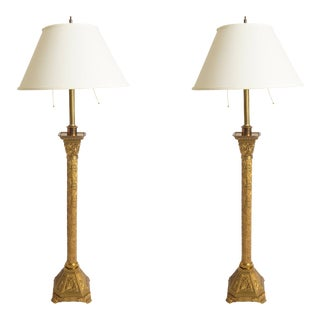 Pair of Gothic Pricket Candlestick Lamps For Sale
