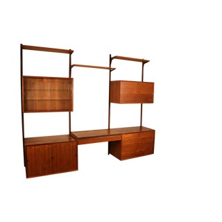 Mid Century Modern Danish Teak Floating Wall Unit With Vanity For Sale
