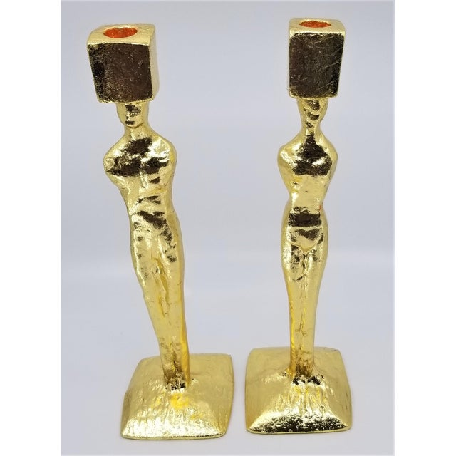 Mid Century Modern Candlesticks - Candle Holders - Giacometti Style - Restored For Sale - Image 10 of 13