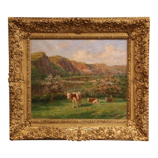 Early 20th Century Cow Painting in Gilt Wood Frame Signed Felix Planquette For Sale