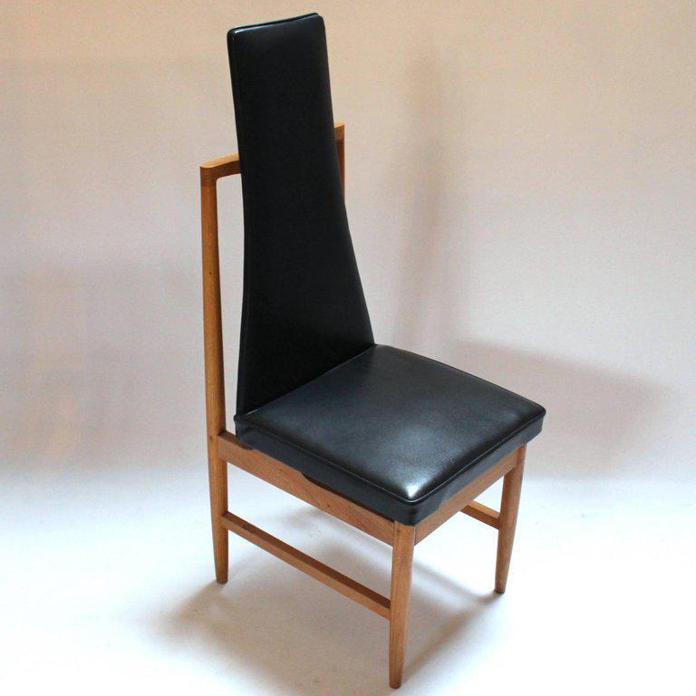 Danish Modern Teak U0026 Black Vinyl Tall Back Dining Chairs   Set Of 4