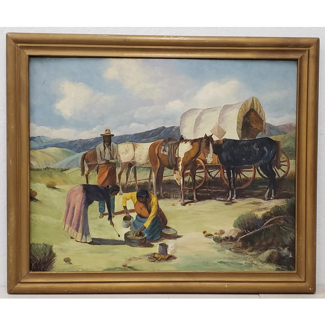 "Vintage American West Oil Painting ""Lunch Time"" by William Metter C.1940s For Sale - Image 11 of 11"