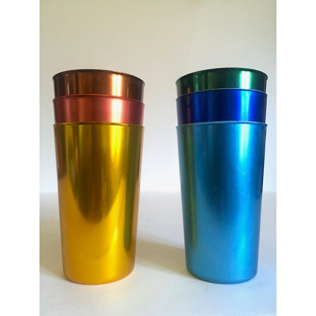 Vintage Mid Century Modern Italy Anodized Spun Aluminum Multicolor Tumbler Cups - Set of 6 For Sale In Kansas City - Image 6 of 13