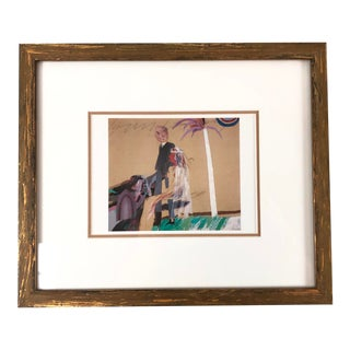 "Reproduction Print of 1963 Painting ""The First Marriage"" Signed David Hockney, Framed For Sale"