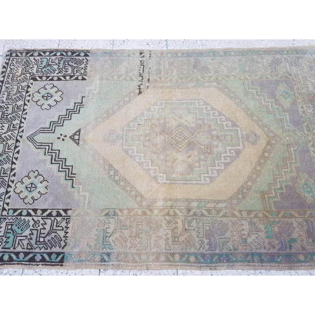 Islamic 1970s Vintage Turkish Oushak Distressed Handmade Rug - 3′8″ × 5′8″ For Sale - Image 3 of 6