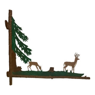 Painted Two Sided Iron Sign With Bucolic Deer For Sale